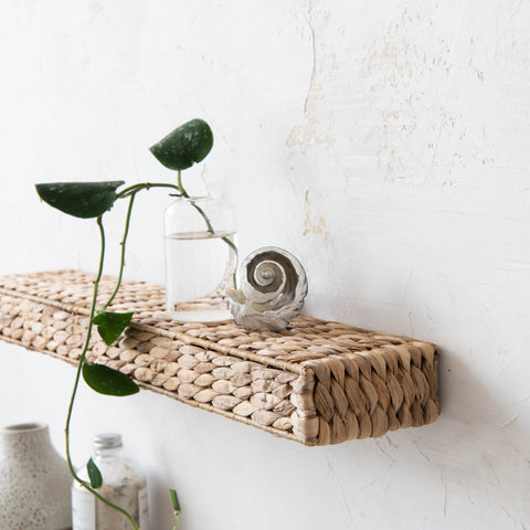 hyacinth woven floating wall shelf