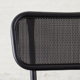 modern black metal barstool with metal mesh seat back