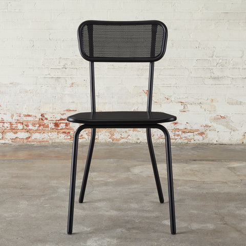 modern black metal dining chair with mesh metal seat back