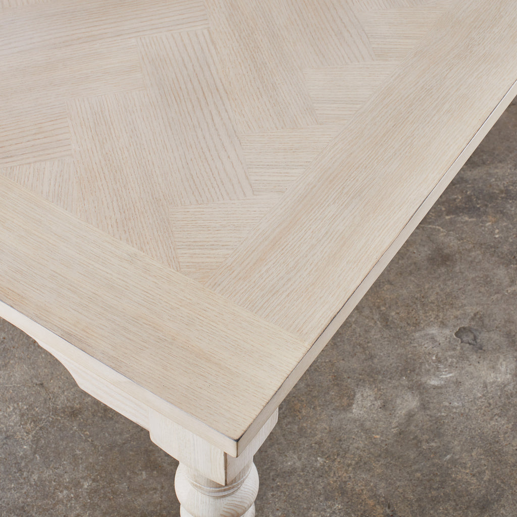 off white farmhouse dining table with turned legs