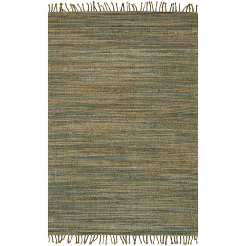 modern textured green rug with tassels