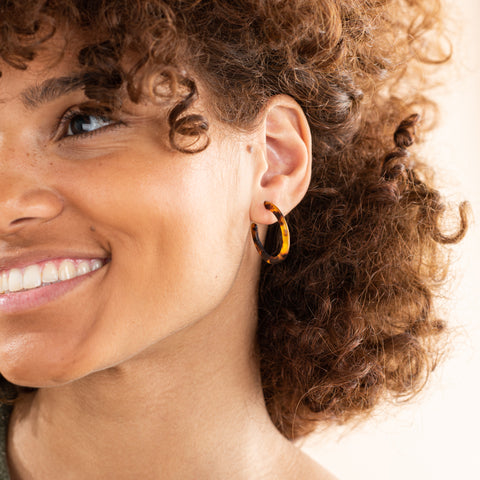 acetate tortoise colored hoops earrings