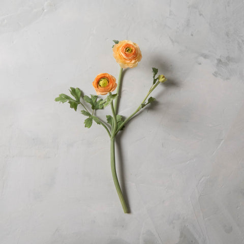 peach faux ranunculus flower and bud stem