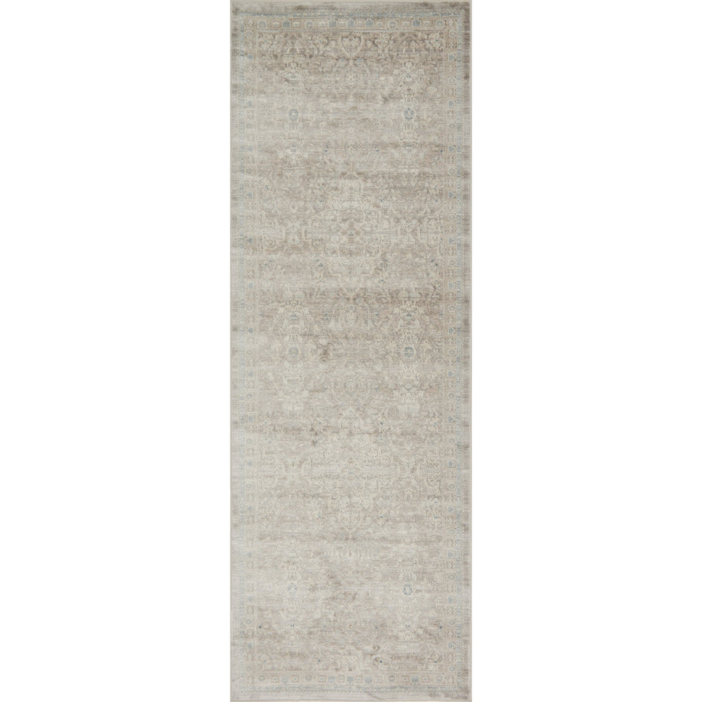 distressed tan runner rug with cream floral detail