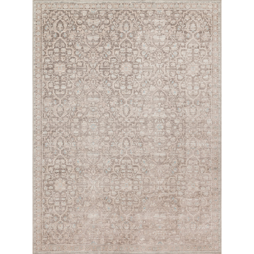 distressed tan area rug with cream floral detail