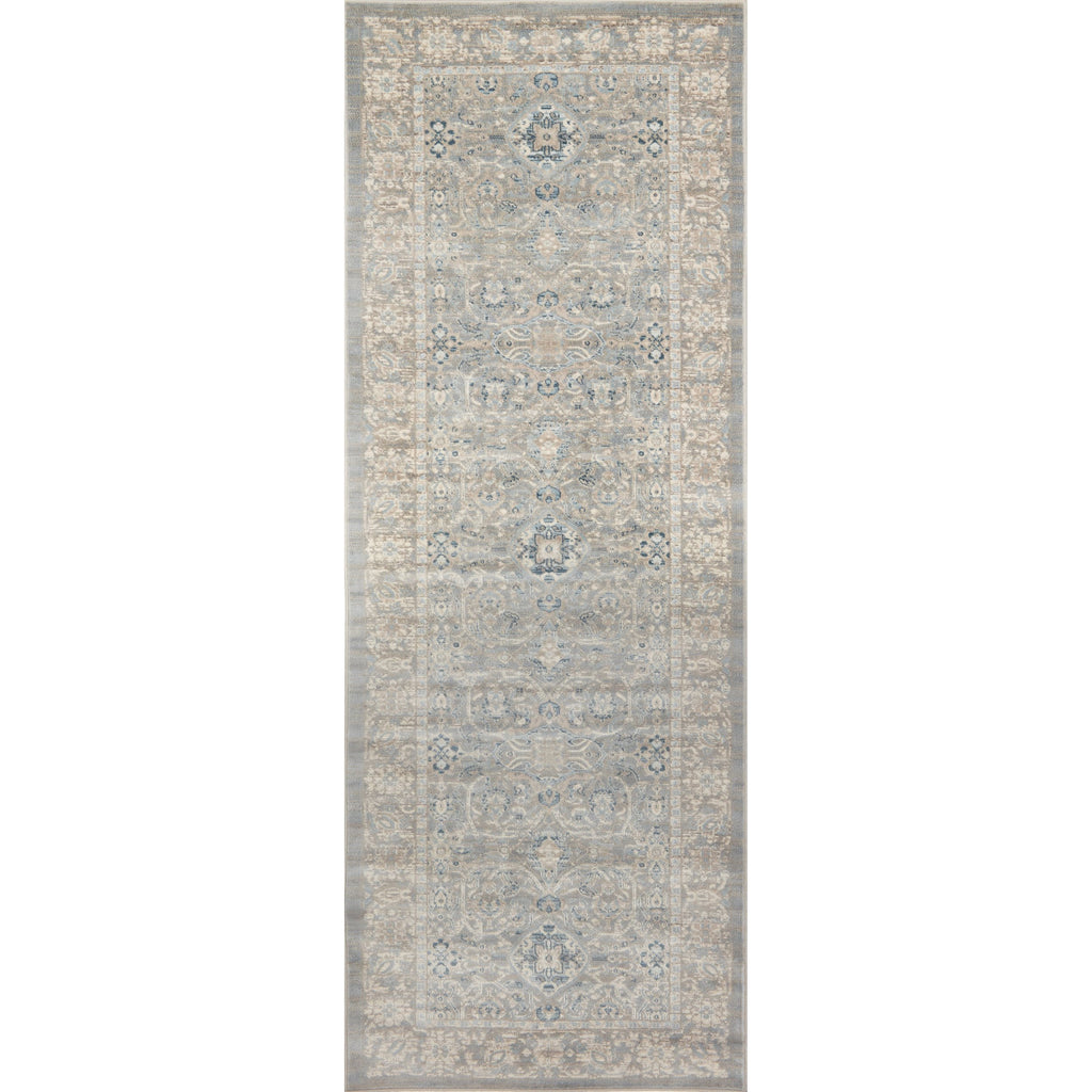 distressed traditional beige runner rug with light floral detail