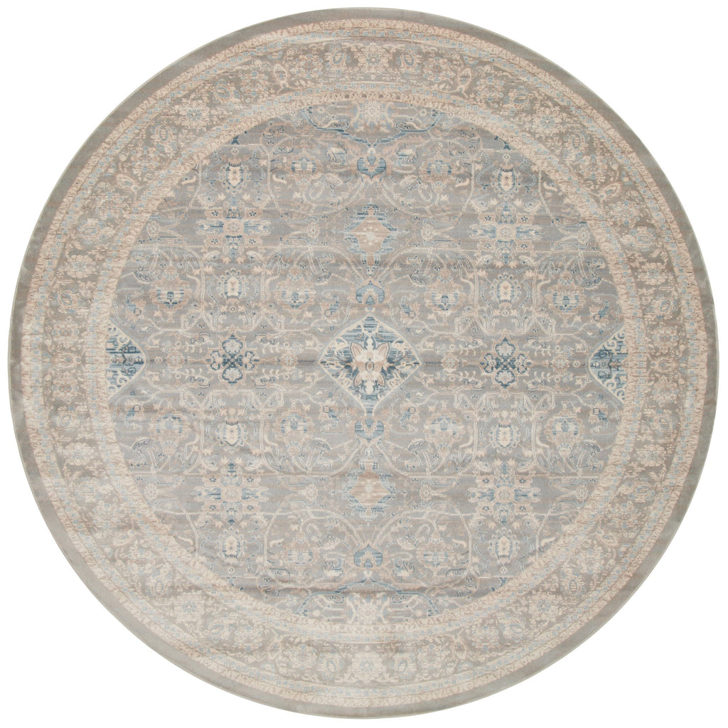 distressed traditional beige circle  rug with light floral detail