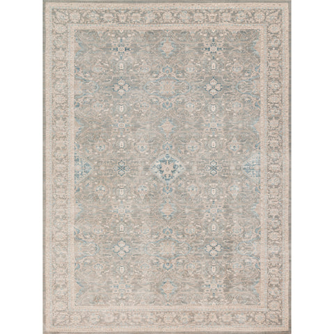 distressed traditional beige rug with light floral detail