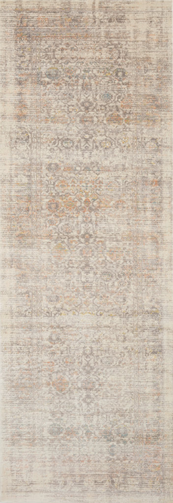 distressed ivory runner rug with muted red and blue details