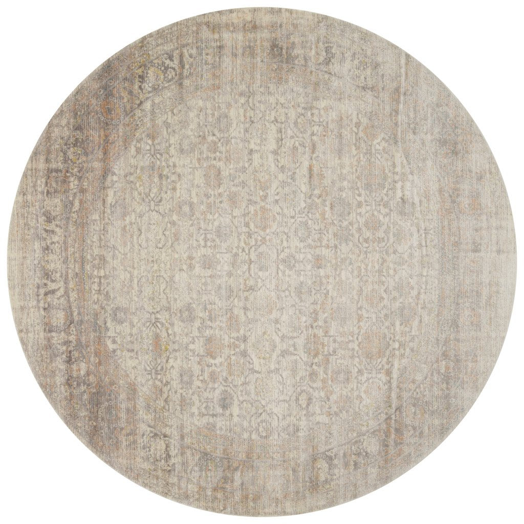 distressed ivory circle rug with muted red and blue details