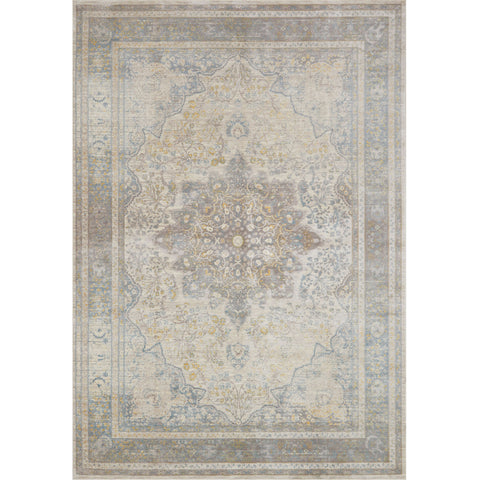 light grey blue distressed rug with ornate pattern