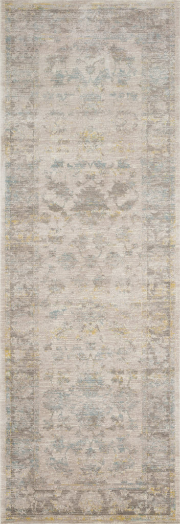 light grey distressed runner rug with floral pattern