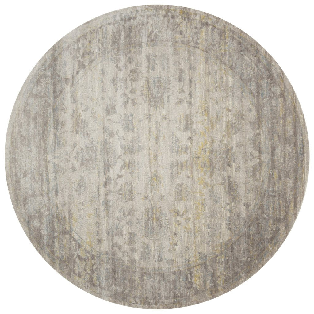 light grey distressed circle rug with floral pattern