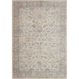 light grey distressed rug with floral pattern