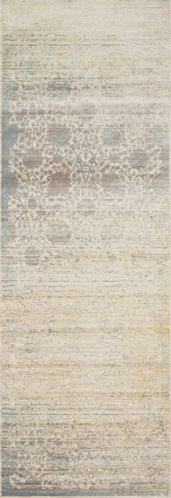 distressed beige and light blue runner rug with floral pattern