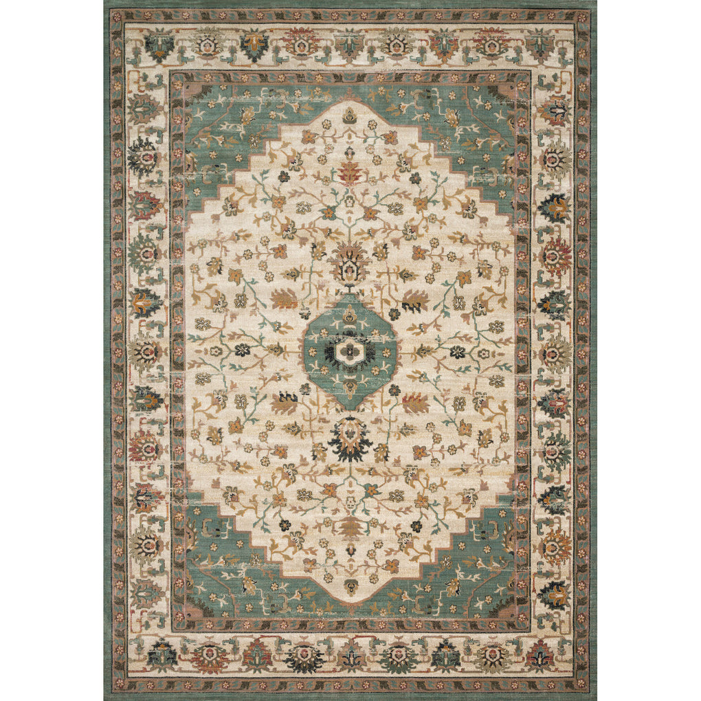 synthetic wool jade green and cream rug