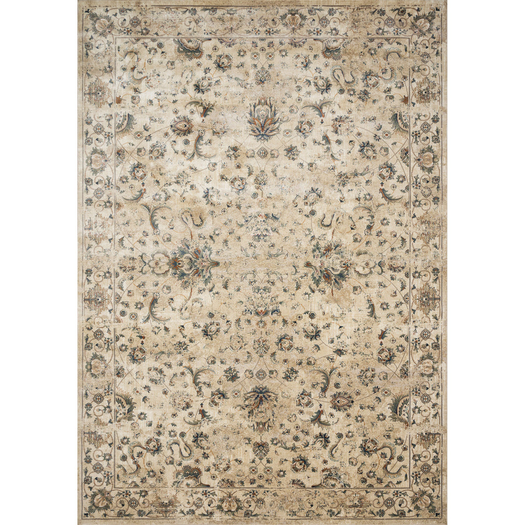 synthetic wool cream rug with muted floral accents