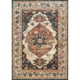synthetic wool distressed dark rug with cream and orange accents