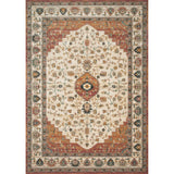 synthetic wool rug that is muted terracotta and cream colored