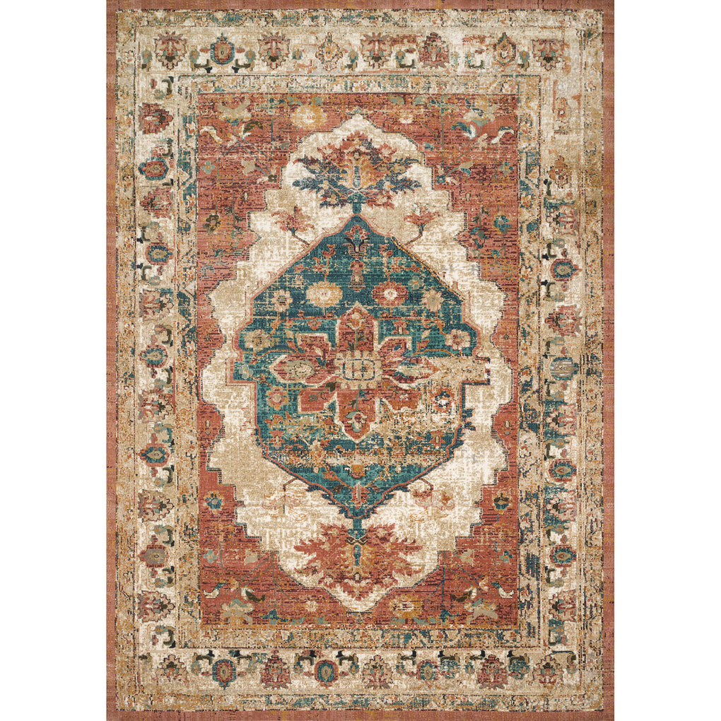 synthetic wool distressed muted red rug with cream and blue accents