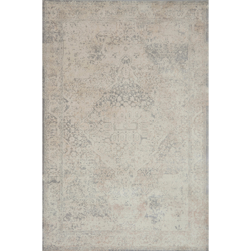 pale cream and grey distressed rug with faint floral detail