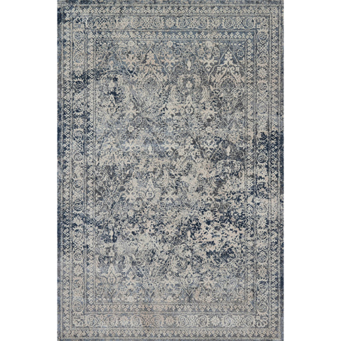 dark grey distressed rug with floral pattern