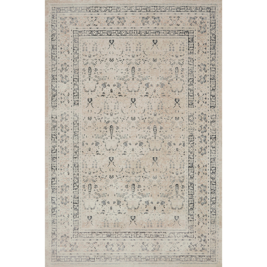 ivory and tan distressed rug with floral detail