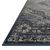 dark grey and silver rug with traditional pattern