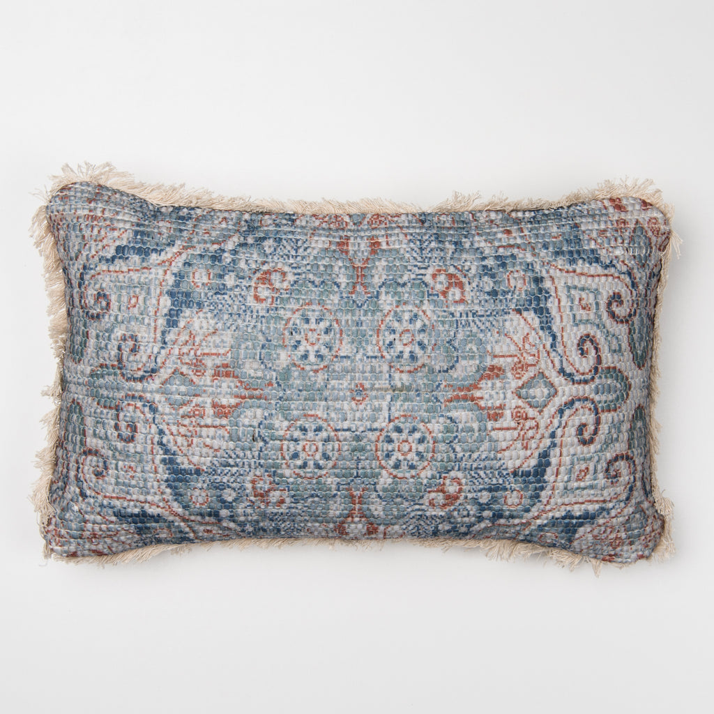 narrow blue patterned pillow