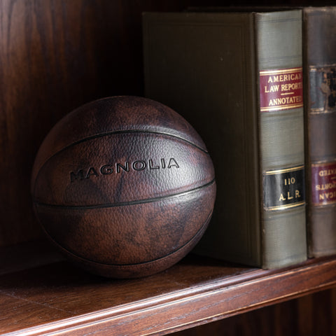 mini leather basketball with magnolia logo embossed