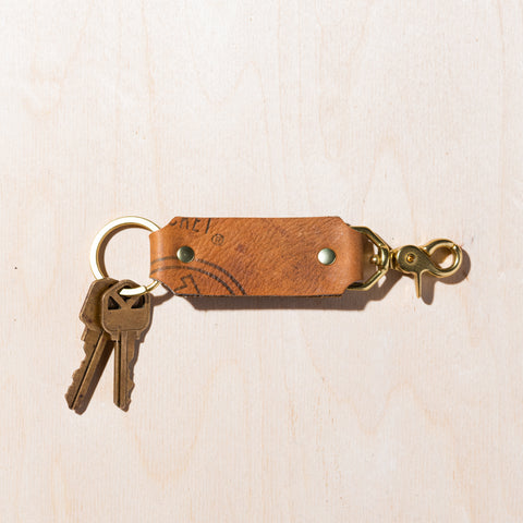 recycled baseball leather key chain with double clasp