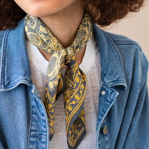 yellow and navy blue patterned bandana