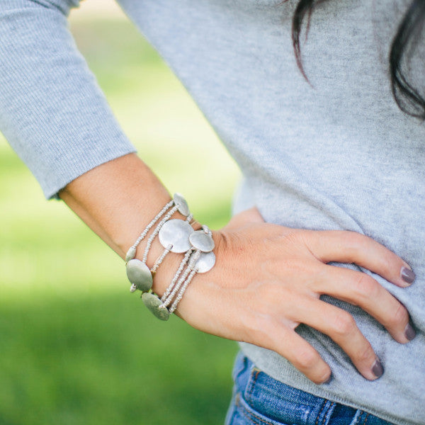 Silver Wrap Bracelet or Necklace