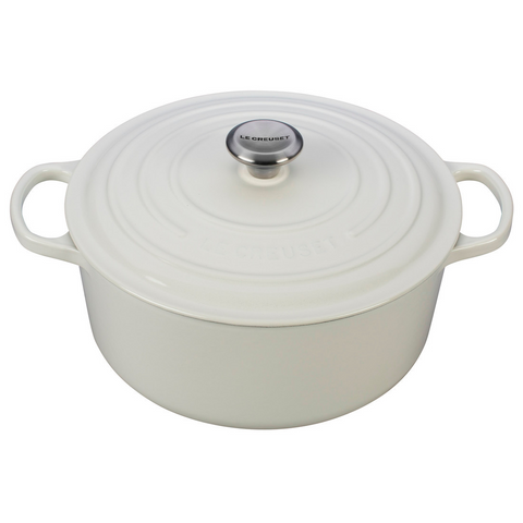 le creuset enameled cast iron dutch oven in white color