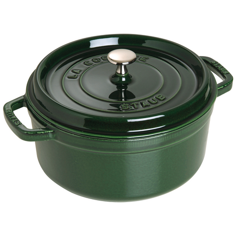 Staub 5.5 quart round cast iron dutch oven in basil green