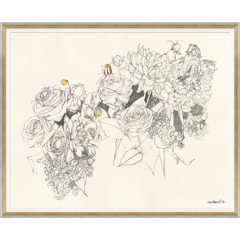 framed sketch drawing of a bouquet of flowers