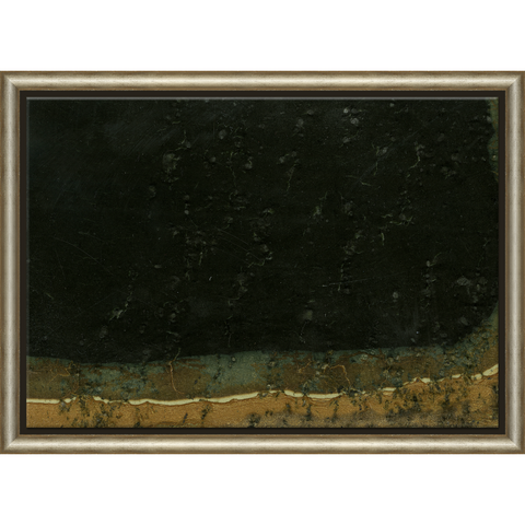 distressed abstract art print with tones of black, dark green, and gold-brown in wooden frame