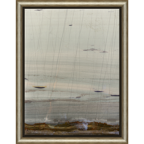 abstract painting of a seashore in a wooden frame