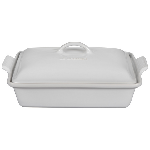 le creuset enameled stoneware rectangular baking dish in white