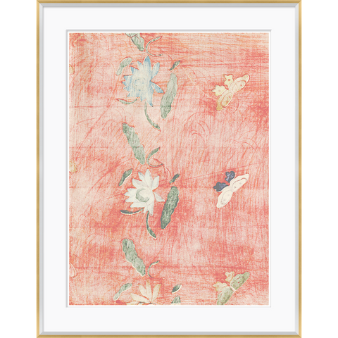red vintage sketch of flowers and butterflies