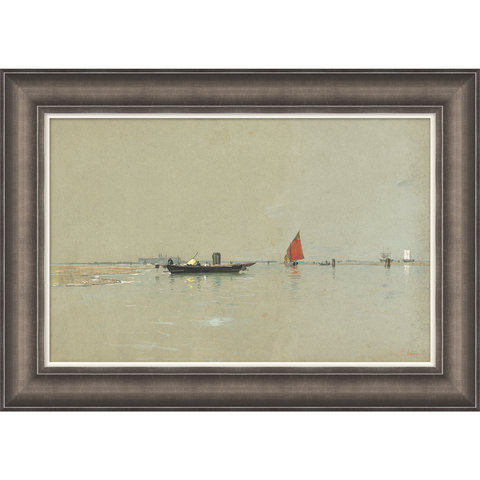 painting of boats in a lagoon in venice in a wooden frame