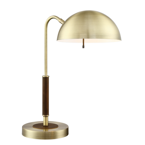 brass metal table lamp with walnut accents
