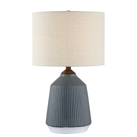 striped pattern grey ceramic table lamp with tan fabric drum shade