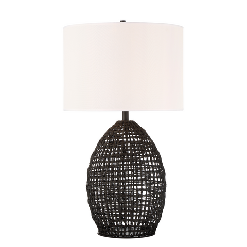 black woven rope over metal grid table lamp with white drum shade