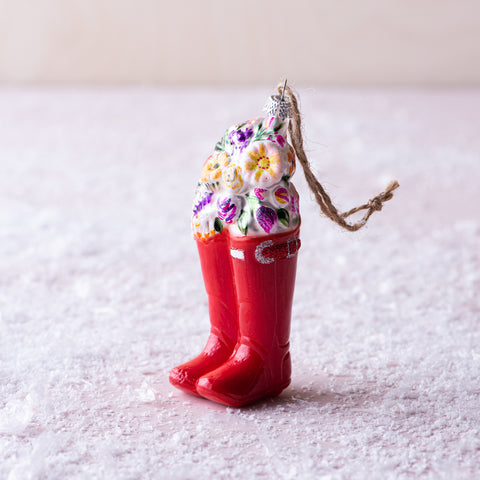 bouquets in wellies gardener boots christmas ornament