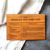 chocolate chip bundt cake wooden recipe card