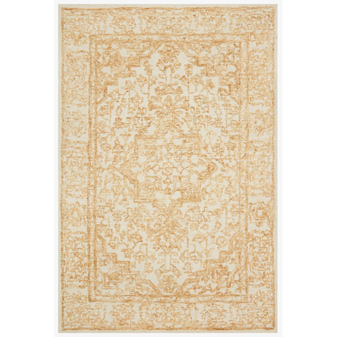 gold and ivory traditional style rug