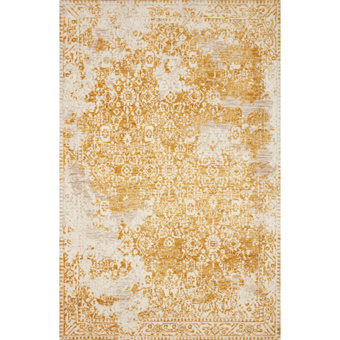 golden yellow distressed area rug with floral detail
