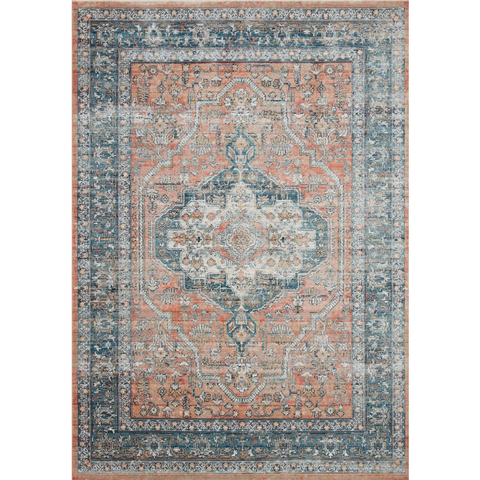 blue and coral orange traditional style rug with floral patterns and detail