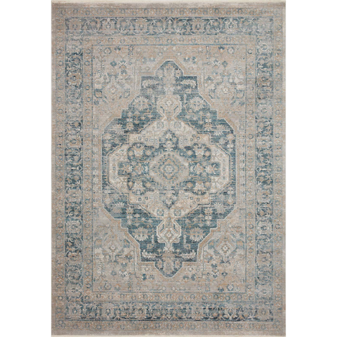 beige and blue traditional area rug with floral detail